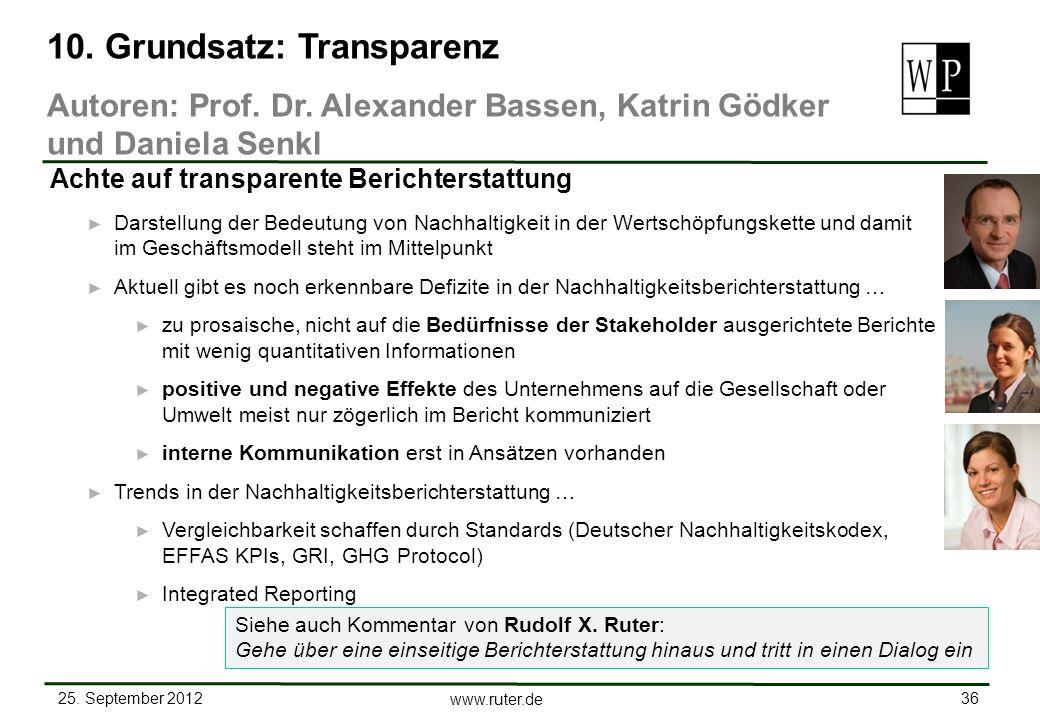 25. September 2012 36 www.ruter.de Darstellung der Bedeutung von Nachhaltigkeit in der Wertschöpfungskette und damit im Geschäftsmodell steht im Mitte