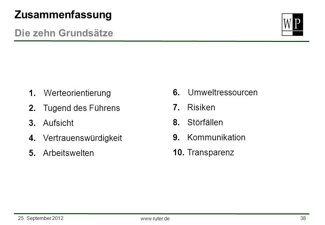 25. September 2012 38 www.ruter.de 1.Werteorientierung 2. Tugend des Führens 3. Aufsicht 4. Vertrauenswürdigkeit 5. Arbeitswelten Zusammenfassung Die