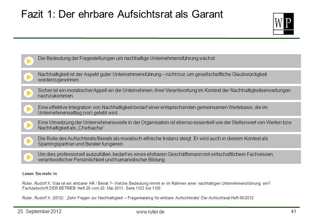 25. September 2012 41 www.ruter.de Fazit 1: Der ehrbare Aufsichtsrat als Garant Die Bedeutung der Fragestellungen um nachhaltige Unternehmensführung w