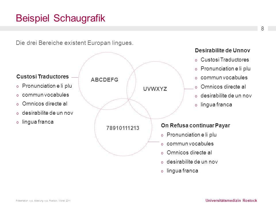 Universitätsmedizin Rostock Präsentation xyz, Abteilung xyz. Rostock, Monat 2011 8 Beispiel Schaugrafik Die drei Bereiche existent Europan lingues. De