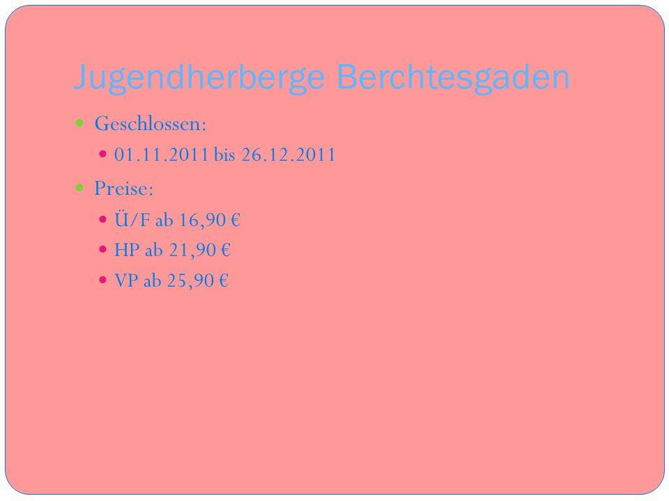 Jugendherberge Berchtesgaden Bettenzahl: 267 in 55 Zimmern Raumangebot: 7 2-Bettzimmer, 19 4-Bettzimmer davon 10 mit Du/WC, 20 6- Bettzimmer davon 5 mit Du/WC, 3 7-Bettzimmer davon 1 mit Du/WC, 6 8-Bettzimmer, 6 Tagesräume, WLAN, 1 Speiseraum, Leiterzimmer und Familienzimmer teilweise mit DU/WC.