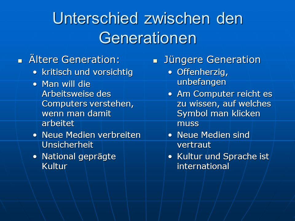 Unterschied zwischen den Generationen Ältere Generation: Ältere Generation: kritisch und vorsichtigkritisch und vorsichtig Man will die Arbeitsweise d