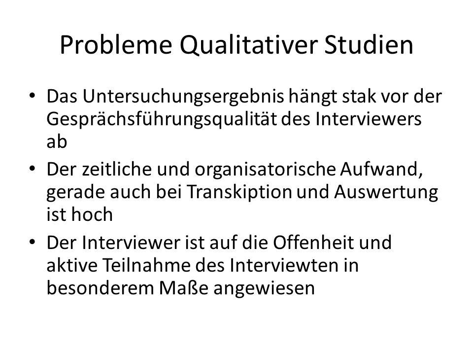 Probleme Qualitativer Studien Das Untersuchungsergebnis hängt stak vor der Gesprächsführungsqualität des Interviewers ab Der zeitliche und organisator