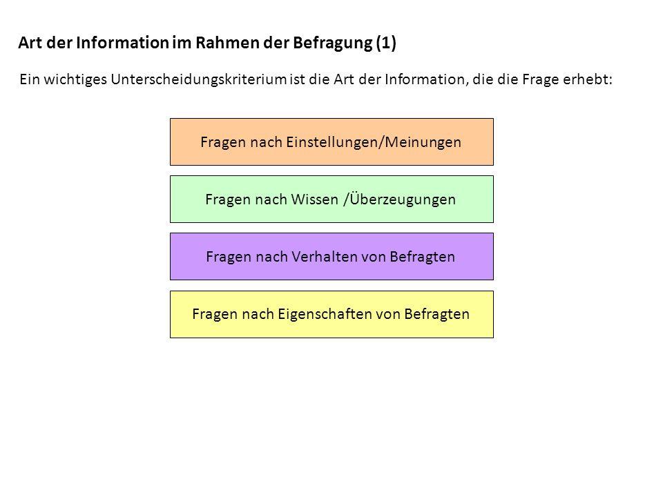 Art der Information im Rahmen der Befragung (1) Ein wichtiges Unterscheidungskriterium ist die Art der Information, die die Frage erhebt: Fragen nach