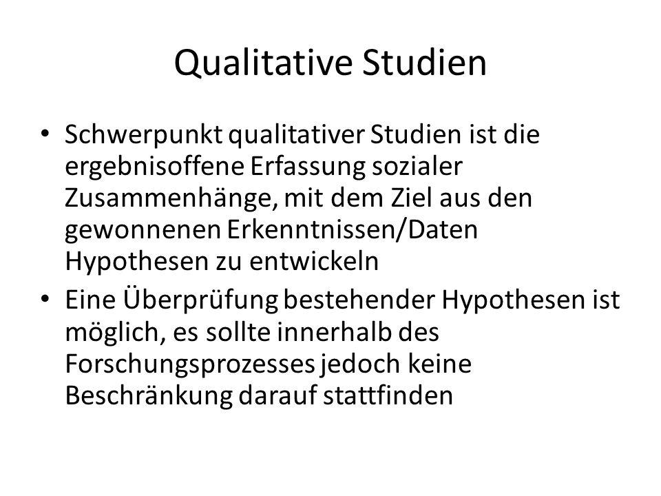 Qualitative Studien Schwerpunkt qualitativer Studien ist die ergebnisoffene Erfassung sozialer Zusammenhänge, mit dem Ziel aus den gewonnenen Erkenntn