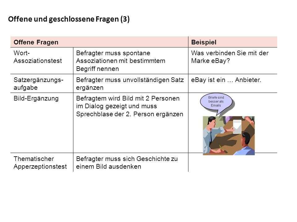Offene und geschlossene Fragen (3) Offene FragenBeispiel Wort- Assoziationstest Befragter muss spontane Assoziationen mit bestimmtem Begriff nennen Wa