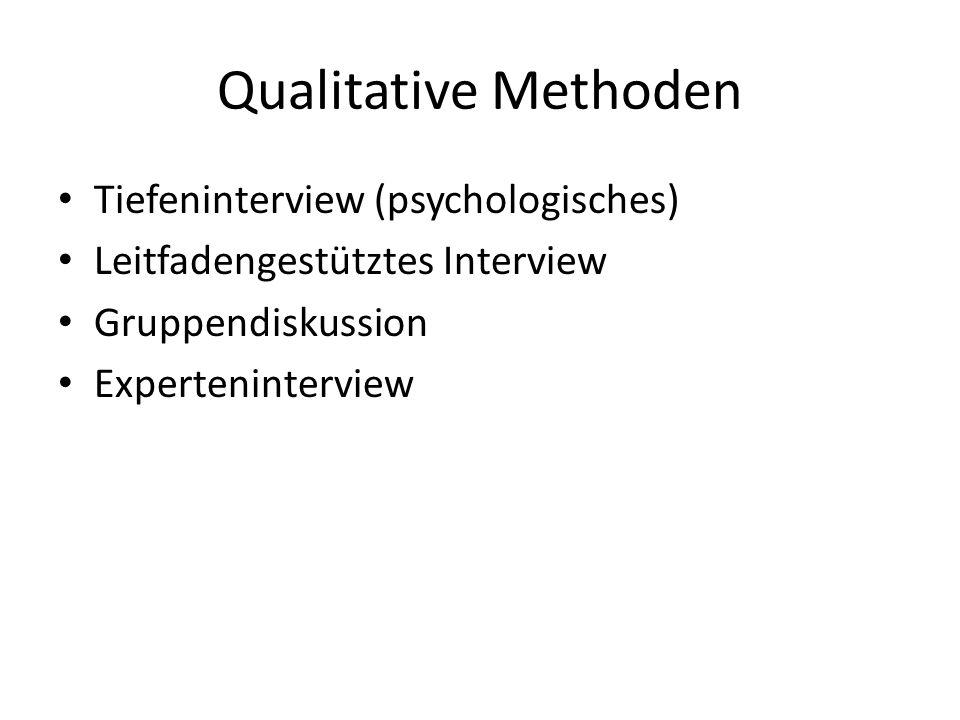 Qualitative Methoden Tiefeninterview (psychologisches) Leitfadengestütztes Interview Gruppendiskussion Experteninterview