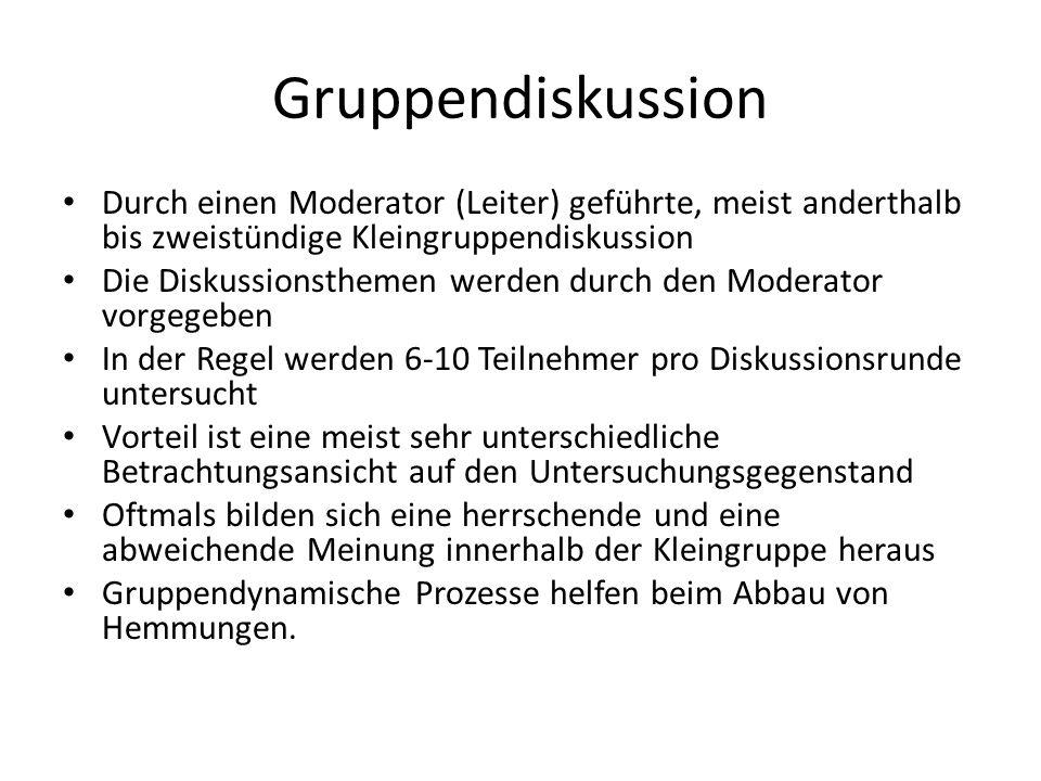 Gruppendiskussion Durch einen Moderator (Leiter) geführte, meist anderthalb bis zweistündige Kleingruppendiskussion Die Diskussionsthemen werden durch