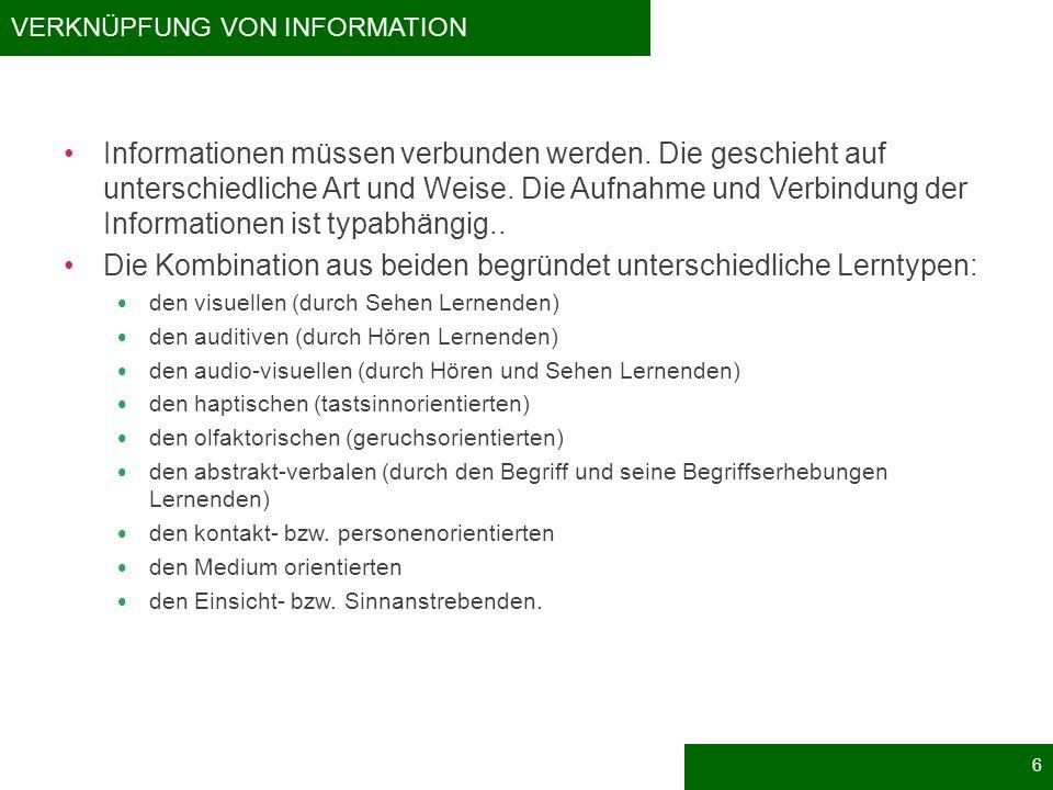 VERKNÜPFUNG VON INFORMATION Informationen müssen verbunden werden. Die geschieht auf unterschiedliche Art und Weise. Die Aufnahme und Verbindung der I