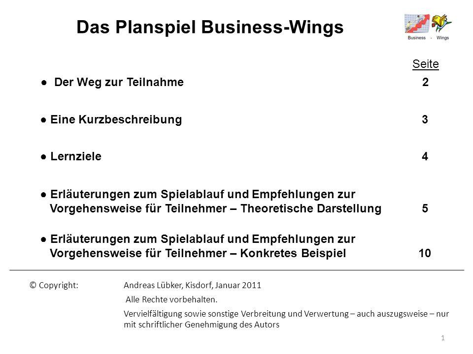 Das Planspiel Business-Wings Der Weg zur Teilnahme 2 Eine Kurzbeschreibung 3 Erläuterungen zum Spielablauf und Empfehlungen zur Vorgehensweise für Tei