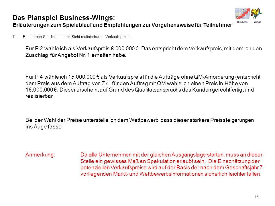 Das Planspiel Business-Wings: Erläuterungen zum Spielablauf und Empfehlungen zur Vorgehensweise für Teilnehmer 7Bestimmen Sie die aus Ihrer Sicht real