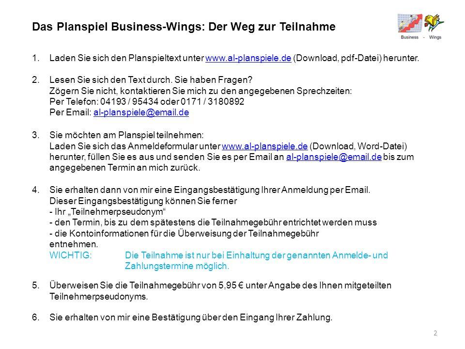 Das Planspiel Business-Wings: Der Weg zur Teilnahme 1.Laden Sie sich den Planspieltext unter www.al-planspiele.de (Download, pdf-Datei) herunter.www.a