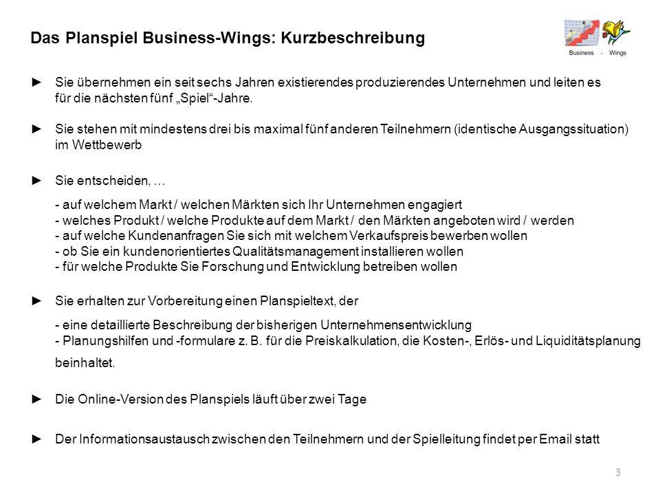 Das Planspiel Business-Wings: Kurzbeschreibung Sie übernehmen ein seit sechs Jahren existierendes produzierendes Unternehmen und leiten es für die näc