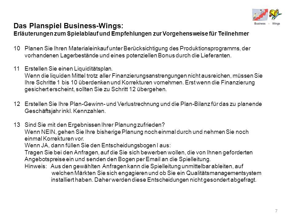 Das Planspiel Business-Wings: Erläuterungen zum Spielablauf und Empfehlungen zur Vorgehensweise für Teilnehmer 10Planen Sie Ihren Materialeinkauf unte