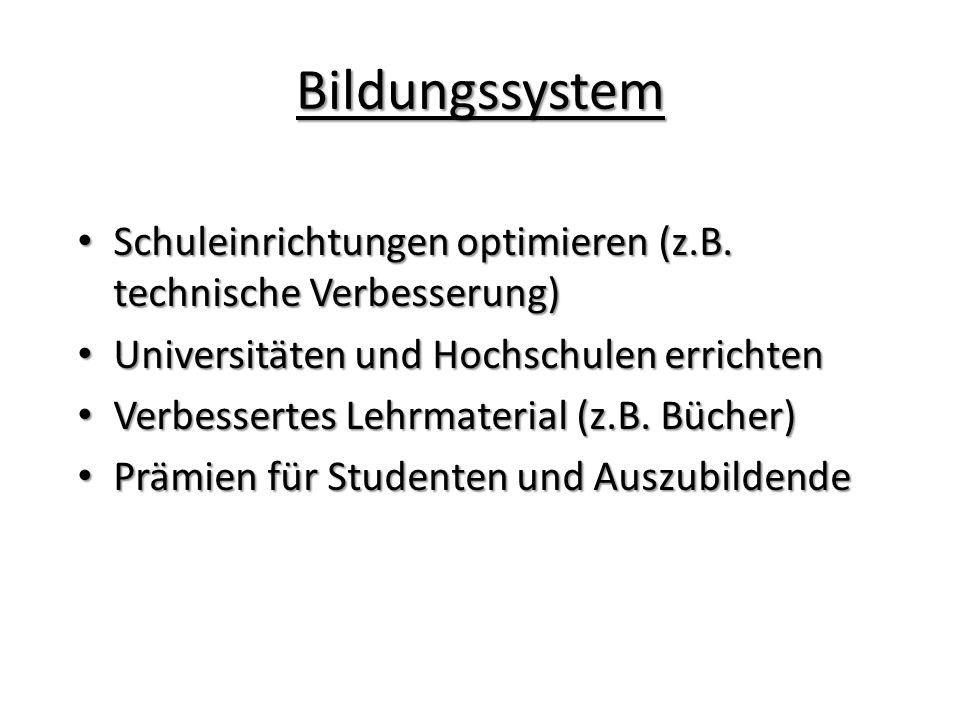 Bildungssystem Schuleinrichtungen optimieren (z.B.