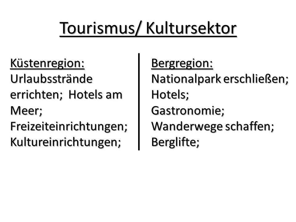 Tourismus/ Kultursektor Bergregion: Nationalpark erschließen; Hotels;Gastronomie; Wanderwege schaffen; Berglifte;Küstenregion: Urlaubsstrände errichten; Hotels am Meer; Freizeiteinrichtungen; Kultureinrichtungen;