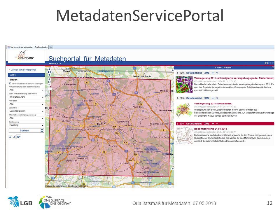 12 MetadatenServicePortal Qualitätsmaß für Metadaten, 07.05.2013