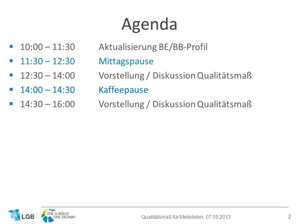 10:00 – 11:30 Aktualisierung BE/BB-Profil 11:30 – 12:30Mittagspause 12:30 – 14:00 Vorstellung / Diskussion Qualitätsmaß 14:00 – 14:30Kaffeepause 14:30 – 16:00 Vorstellung / Diskussion Qualitätsmaß Agenda Qualitätsmaß für Metadaten, 07.05.2013 2