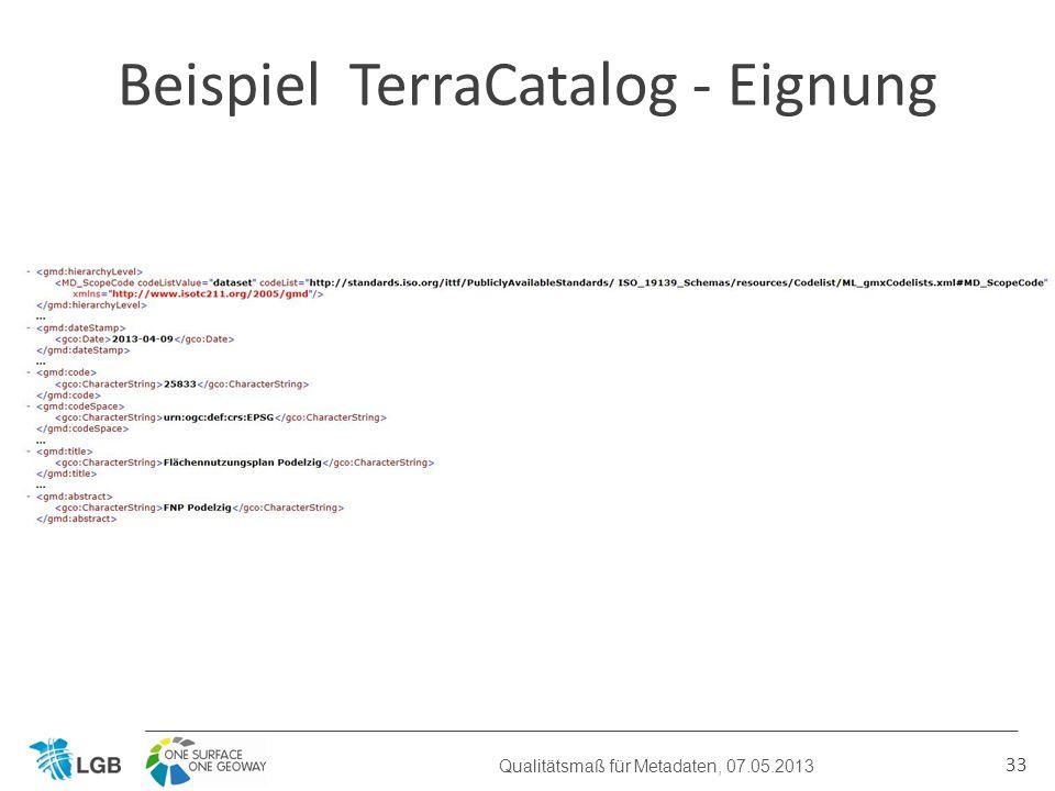 33 Beispiel TerraCatalog - Eignung Qualitätsmaß für Metadaten, 07.05.2013