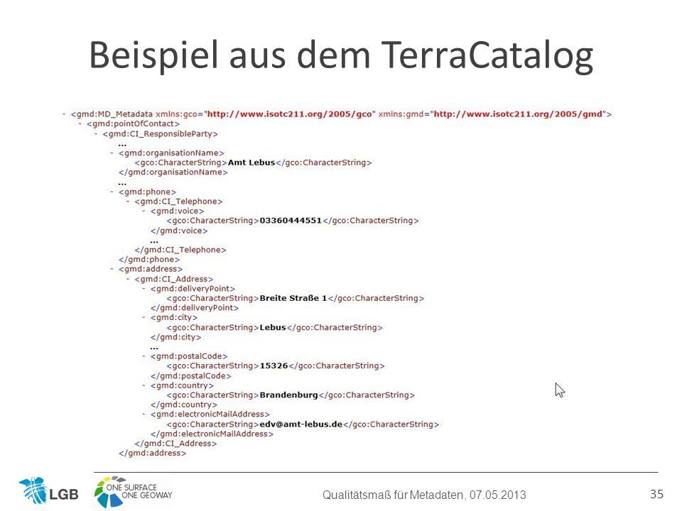 35 Beispiel aus dem TerraCatalog Qualitätsmaß für Metadaten, 07.05.2013
