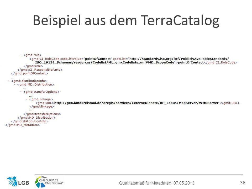 36 Beispiel aus dem TerraCatalog Qualitätsmaß für Metadaten, 07.05.2013