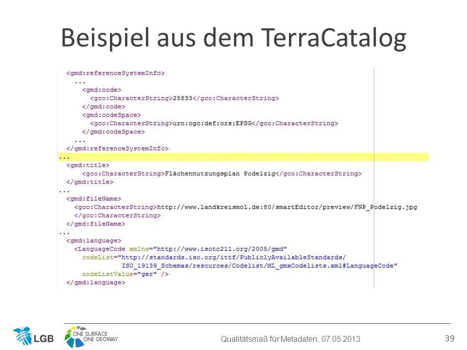 39 Beispiel aus dem TerraCatalog Qualitätsmaß für Metadaten, 07.05.2013
