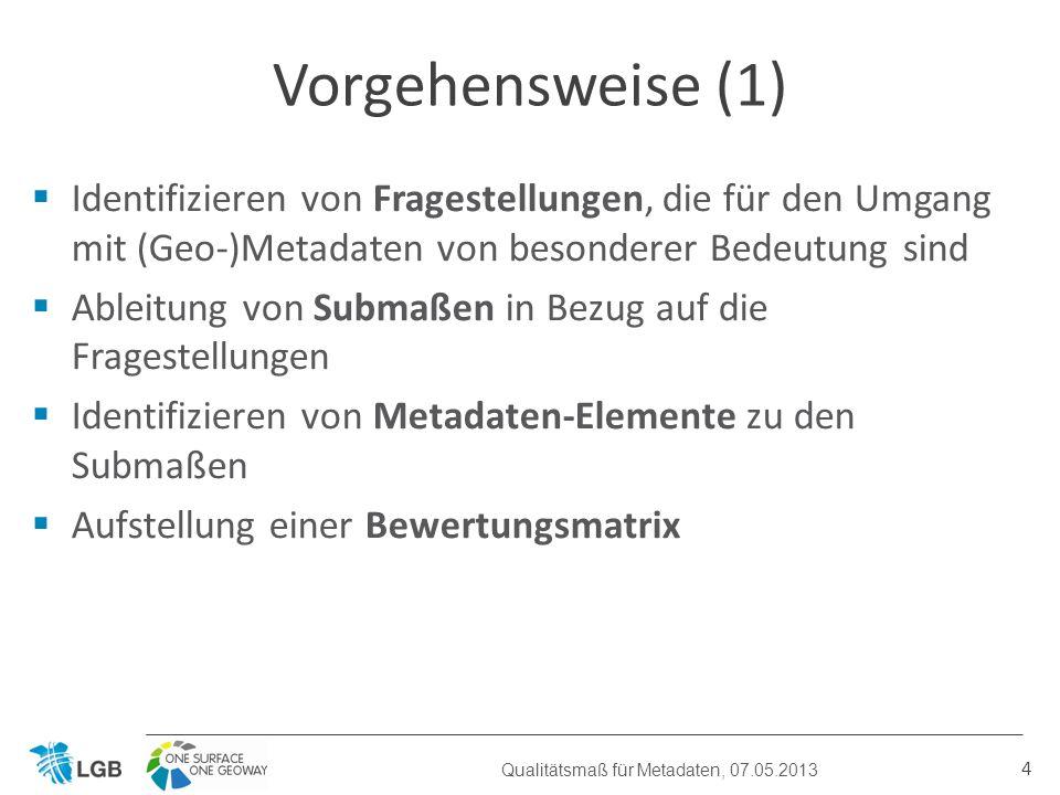 Identifizieren von Fragestellungen, die für den Umgang mit (Geo-)Metadaten von besonderer Bedeutung sind Ableitung von Submaßen in Bezug auf die Fragestellungen Identifizieren von Metadaten-Elemente zu den Submaßen Aufstellung einer Bewertungsmatrix 4 Vorgehensweise (1) Qualitätsmaß für Metadaten, 07.05.2013