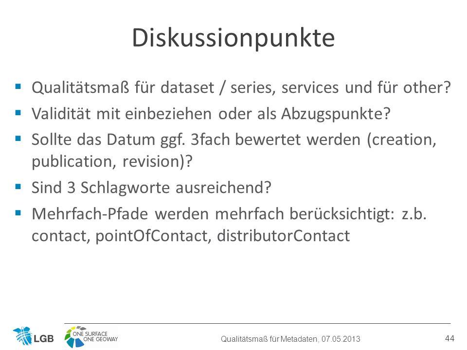 Qualitätsmaß für dataset / series, services und für other.