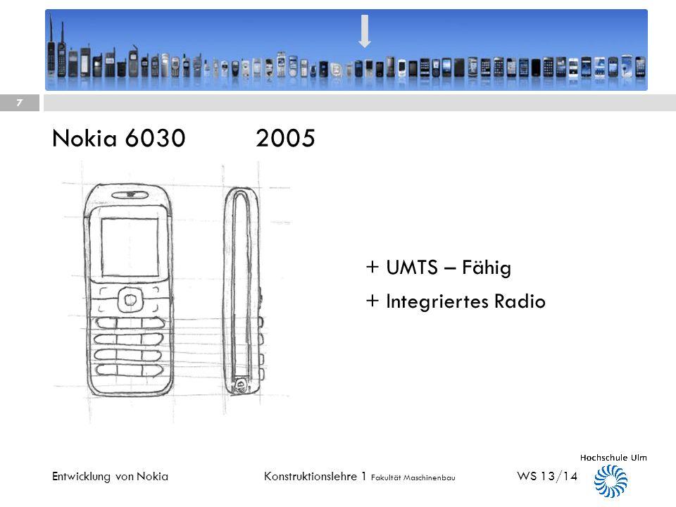 Konstruktionslehre 1 Fakultät Maschinenbau Nokia 3210 1999 WS 13/14 6 Entwicklung von Nokia + Passt in jede Hosentasche + SNAKE