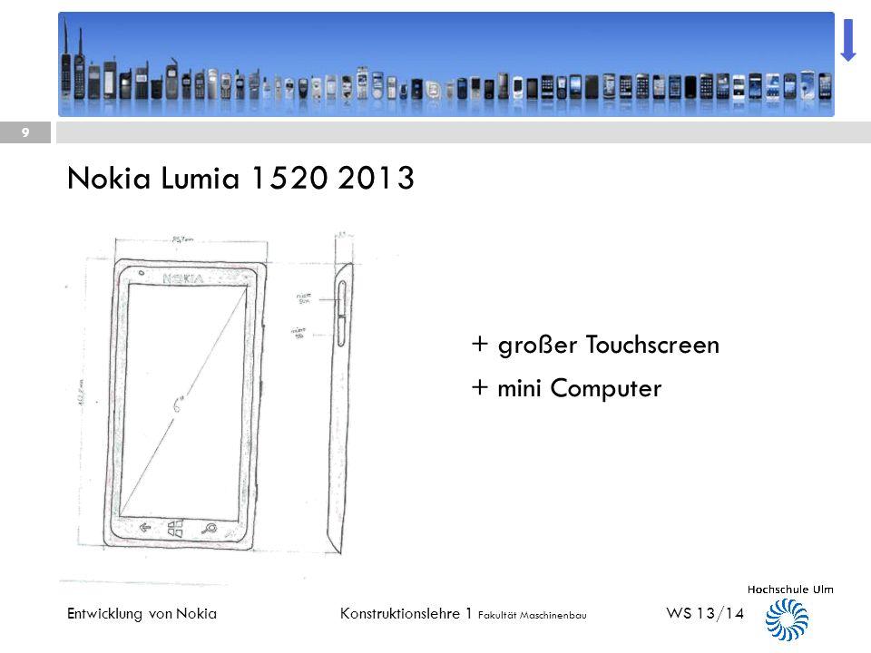 Konstruktionslehre 1 Fakultät Maschinenbau Nokia 62802006 WS 13/14 8 Entwicklung von Nokia + Sehr kompakt + gute Farbwiedergabe