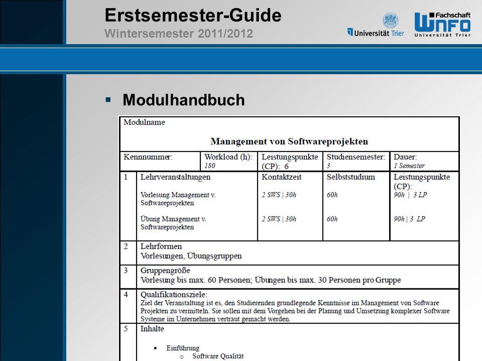 Erstsemester-Guide Wintersemester 2011/2012 Modulhandbuch Link + kleines Bild