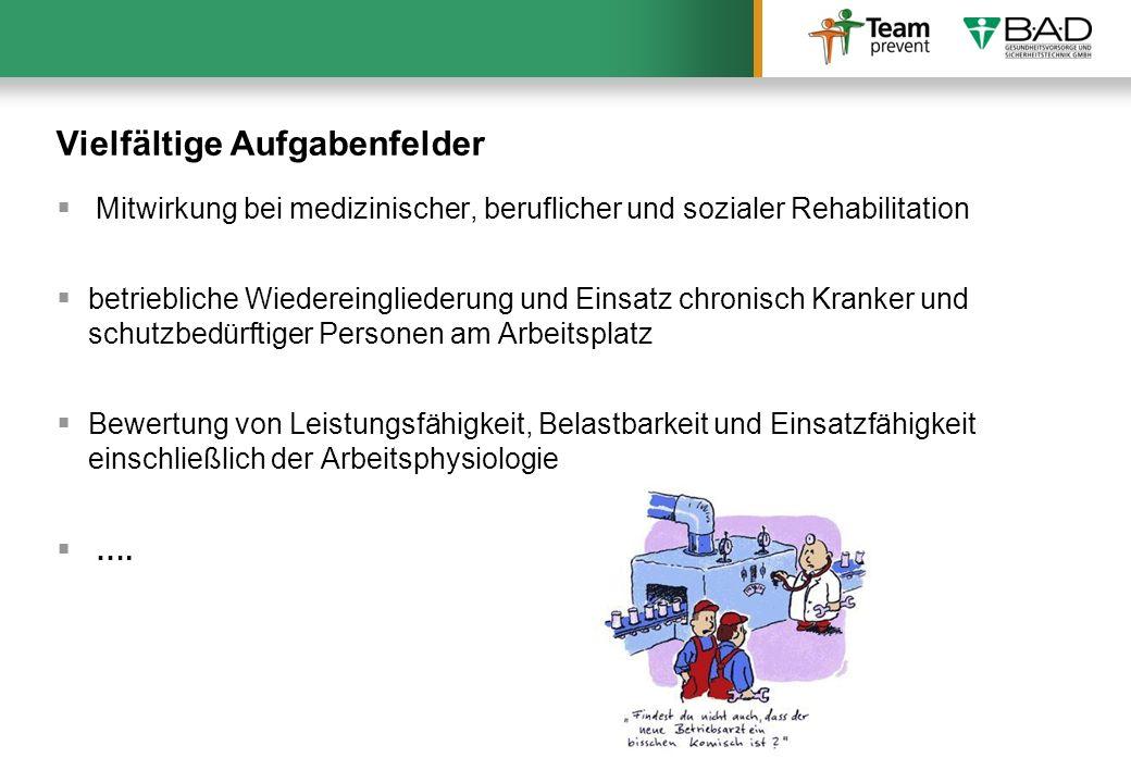 Vielfältige Aufgabenfelder Mitwirkung bei medizinischer, beruflicher und sozialer Rehabilitation betriebliche Wiedereingliederung und Einsatz chronisc