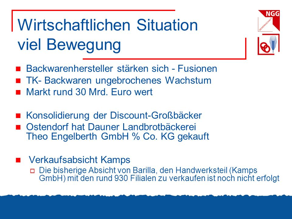 Wirtschaftlichen Situation viel Bewegung Backwarenhersteller stärken sich - Fusionen TK- Backwaren ungebrochenes Wachstum Markt rund 30 Mrd. Euro wert