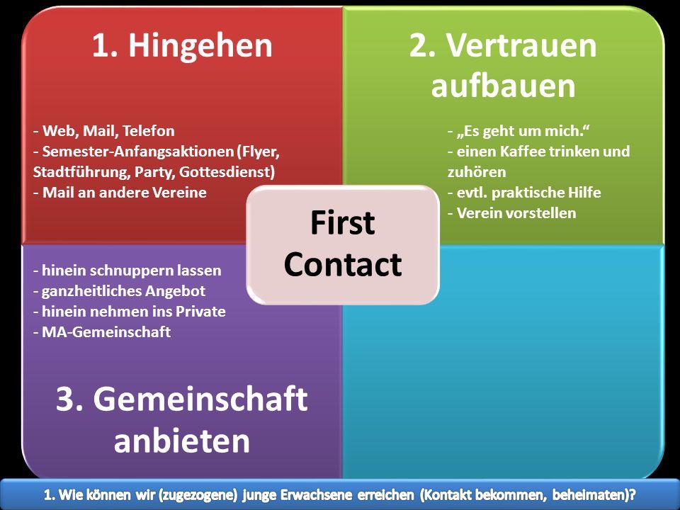 1. Hingehen2. Vertrauen aufbauen 3. Gemeinschaft anbieten First Contact - Es geht um mich. - einen Kaffee trinken und zuhören - evtl. praktische Hilfe