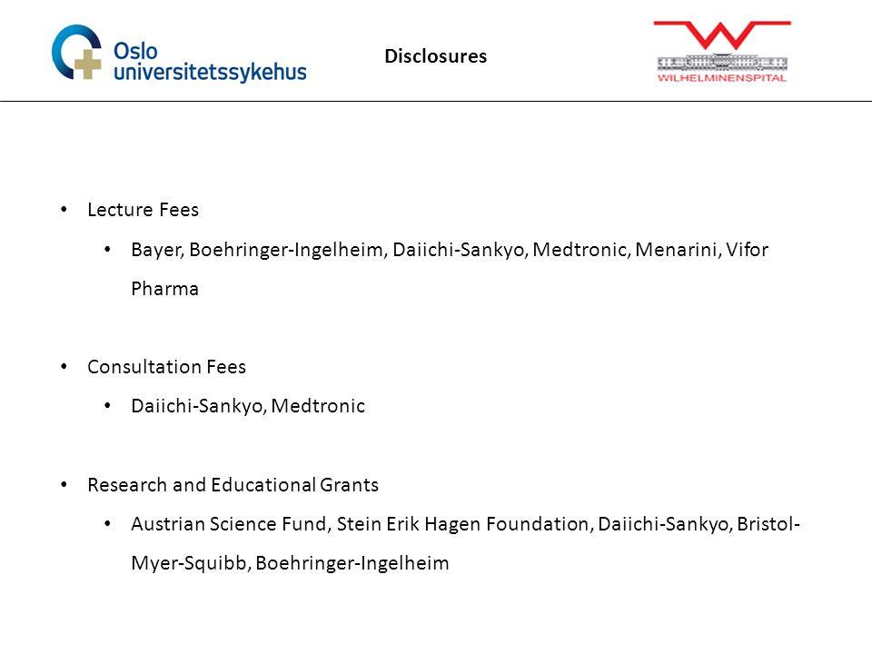 Disclosures Lecture Fees Bayer, Boehringer-Ingelheim, Daiichi-Sankyo, Medtronic, Menarini, Vifor Pharma Consultation Fees Daiichi-Sankyo, Medtronic Re