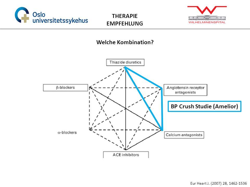 THERAPIE EMPFEHLUNG Eur Heart J. (2007) 28, 1462-1536 Welche Kombination? BP Crush Studie (Amelior)