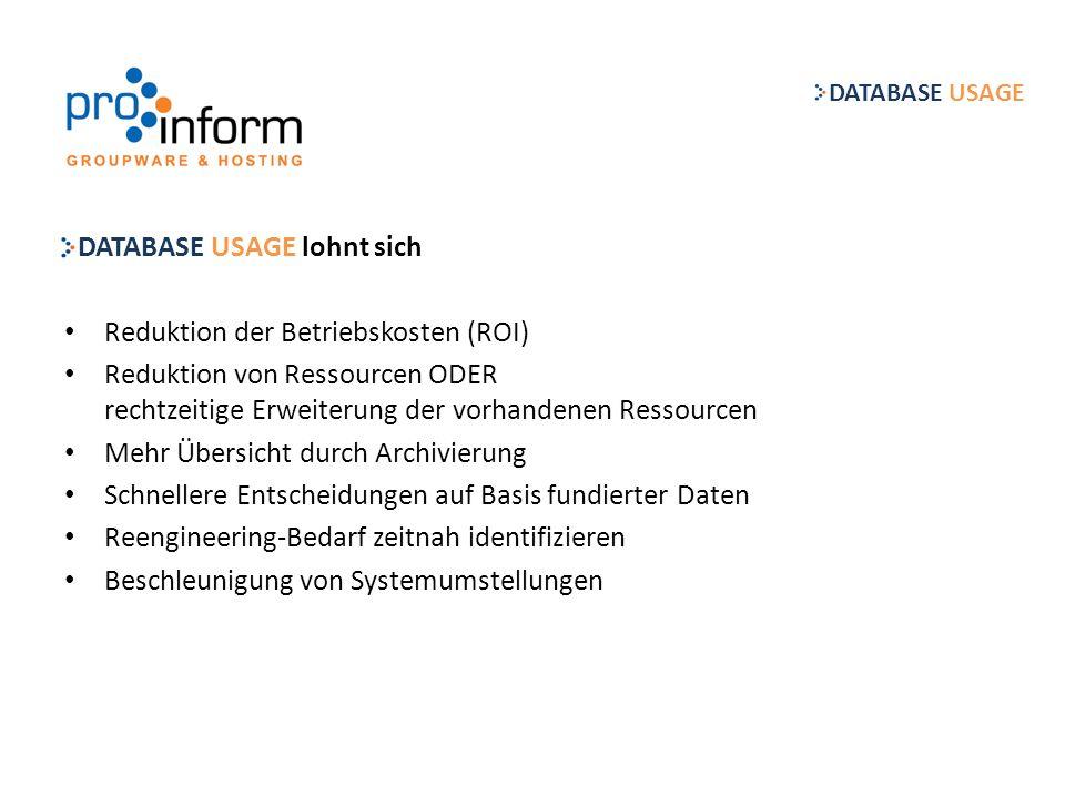 Kostenentwicklung der Lotus Notes Landschaft… DATABASE USAGE Max.