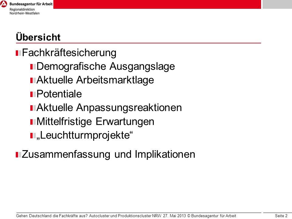 Seite 2 Gehen Deutschland die Fachkräfte aus? Autocluster und Produktionscluster NRW 27. Mai 2013 © Bundesagentur für Arbeit Übersicht Fachkräftesiche