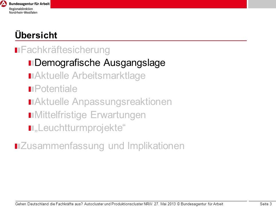 Seite 3 Gehen Deutschland die Fachkräfte aus? Autocluster und Produktionscluster NRW 27. Mai 2013 © Bundesagentur für Arbeit Übersicht Fachkräftesiche