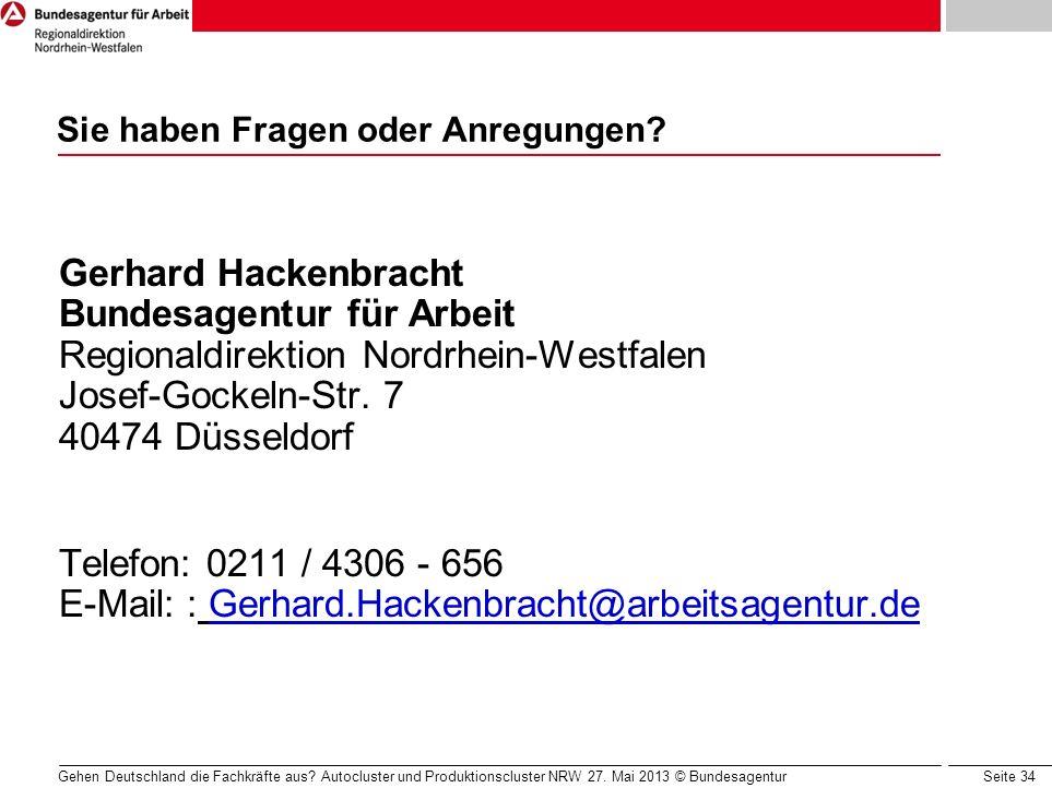 Seite 34 Sie haben Fragen oder Anregungen? Gerhard Hackenbracht Bundesagentur für Arbeit Regionaldirektion Nordrhein-Westfalen Josef-Gockeln-Str. 7 40