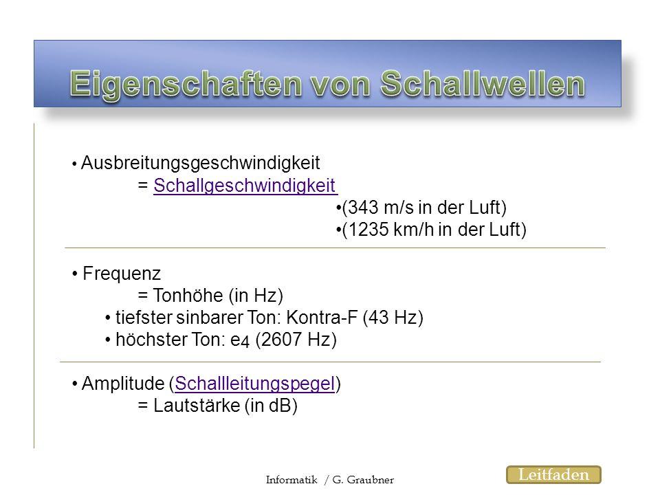 Ausbreitungsgeschwindigkeit = SchallgeschwindigkeitSchallgeschwindigkeit (343 m/s in der Luft) (1235 km/h in der Luft) Frequenz = Tonhöhe (in Hz) tief