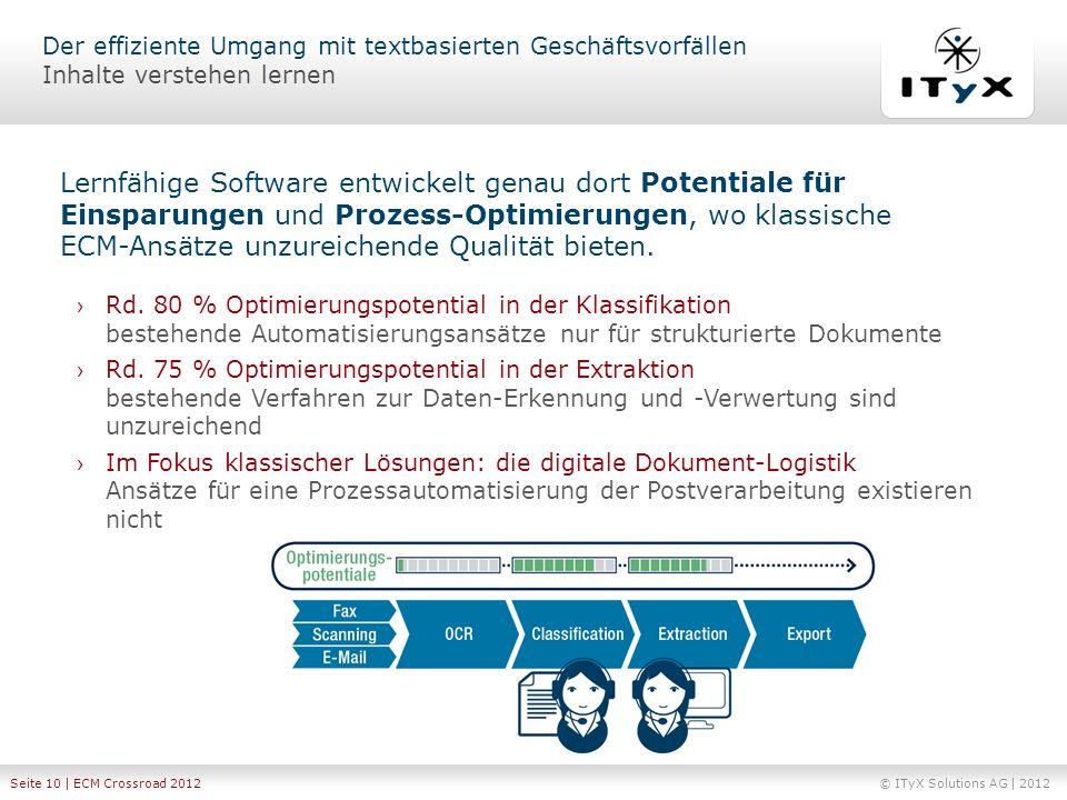 © ITyX Solutions AG | 2012 Seite 10 | ECM Crossroad 2012 Rd. 80 % Optimierungspotential in der Klassifikation bestehende Automatisierungsansätze nur f