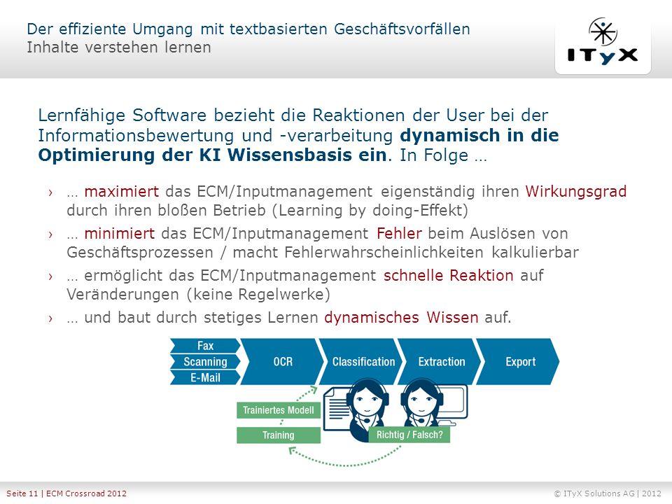 © ITyX Solutions AG | 2012 Seite 11 | ECM Crossroad 2012 … maximiert das ECM/Inputmanagement eigenständig ihren Wirkungsgrad durch ihren bloßen Betrie