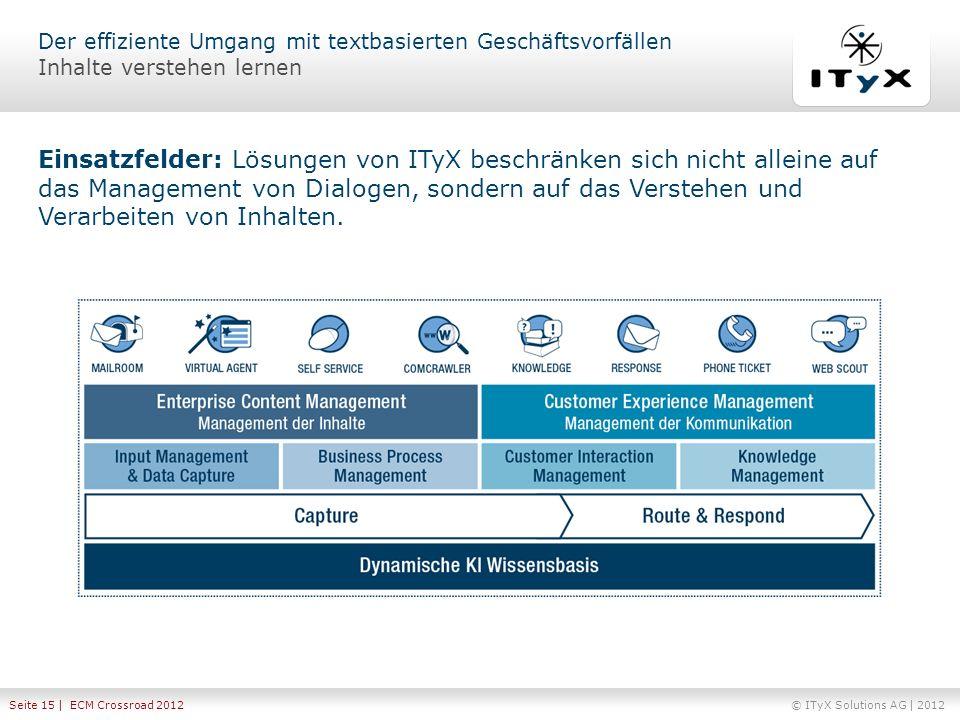 © ITyX Solutions AG | 2012 Seite 15 | ECM Crossroad 2012 Einsatzfelder: Lösungen von ITyX beschränken sich nicht alleine auf das Management von Dialog