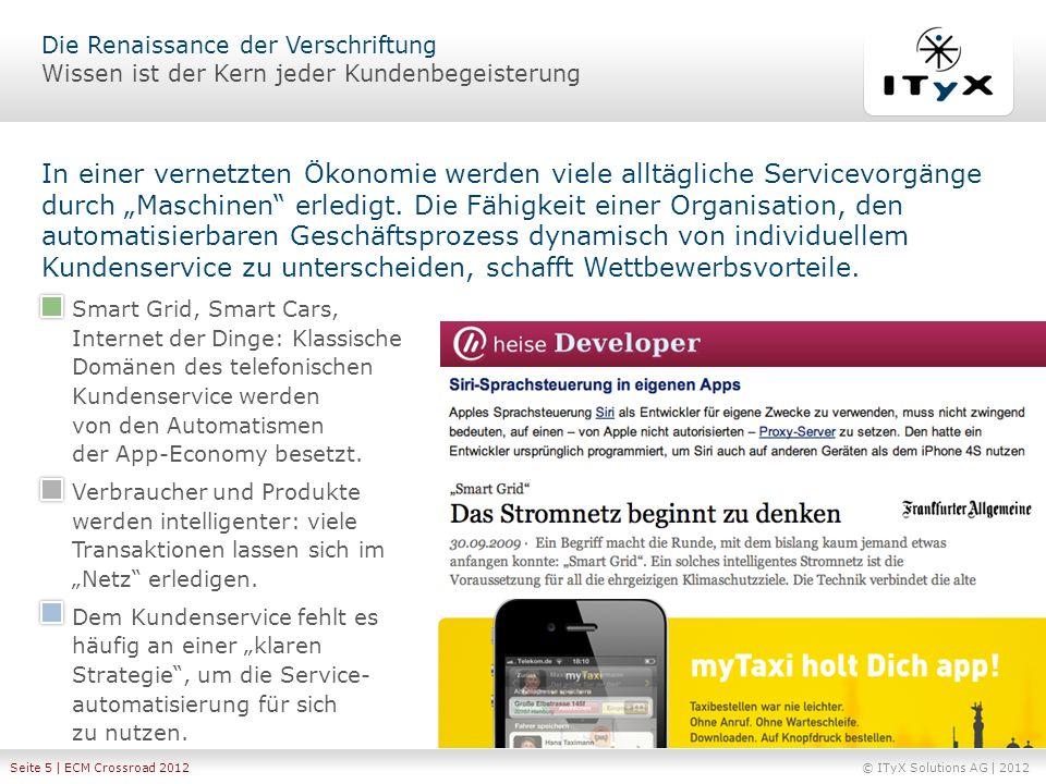 © ITyX Solutions AG | 2012 Seite 5 | ECM Crossroad 2012 In einer vernetzten Ökonomie werden viele alltägliche Servicevorgänge durch Maschinen erledigt
