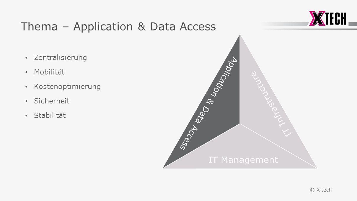 © X-tech Thema – Application & Data Access Zentralisierung Mobilität Kostenoptimierung Sicherheit Stabilität
