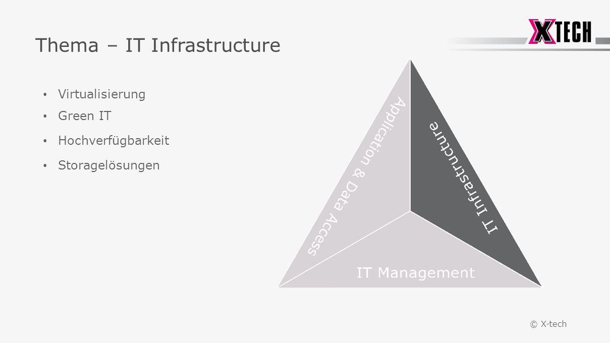 © X-tech Thema – IT Infrastructure Virtualisierung Green IT Hochverfügbarkeit Storagelösungen