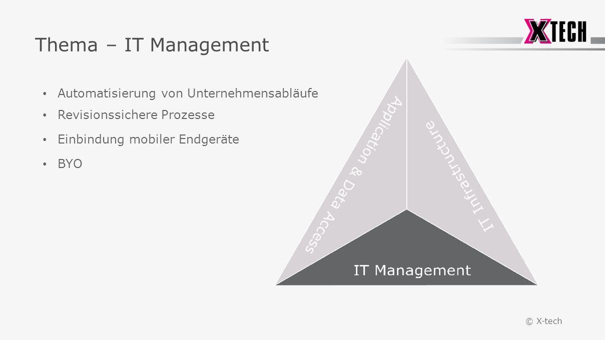 © X-tech Thema – IT Management Automatisierung von Unternehmensabläufe Revisionssichere Prozesse Einbindung mobiler Endgeräte BYO