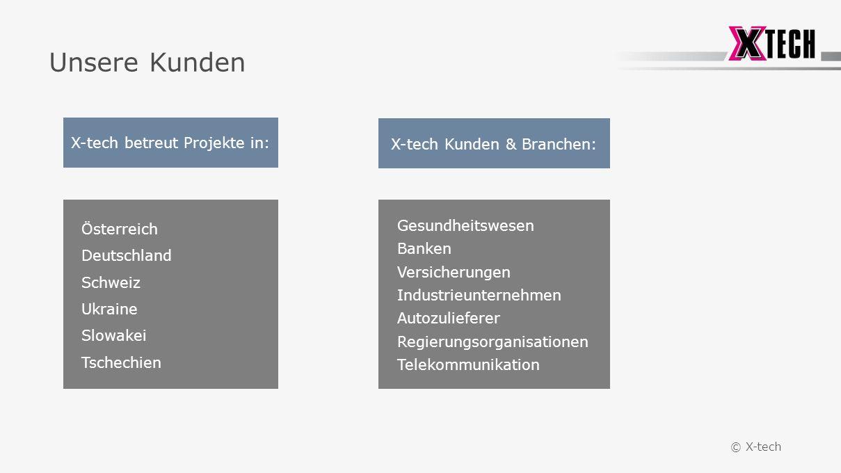 © X-tech Unsere Kunden Österreich Deutschland Schweiz Ukraine Slowakei Tschechien Gesundheitswesen Banken Versicherungen Industrieunternehmen Autozulieferer Regierungsorganisationen Telekommunikation X-tech betreut Projekte in: X-tech Kunden & Branchen: