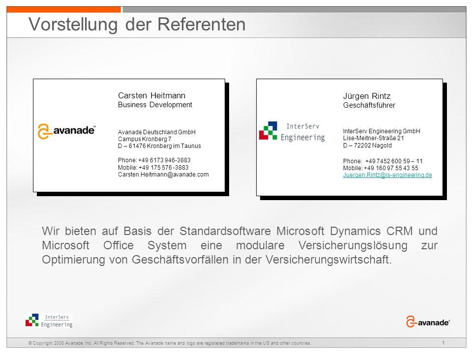Optimierungsszenarien im Versicherungsvertrieb Presenter: Date: Jürgen Rintz Geschäftsführer InterServ Engineering GmbH Carsten Heitmann Business Deve